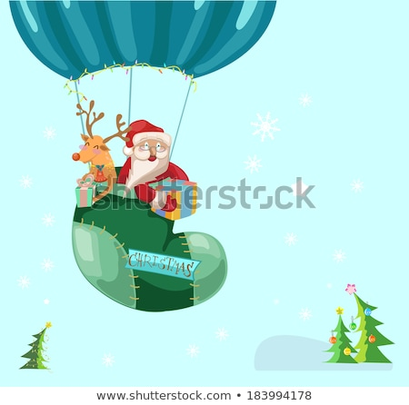 funny color christmas background with hot air balloon with santa stock photo © elmiko