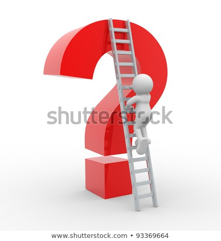 3d  person with a ladder and an question mark Stock photo © designers