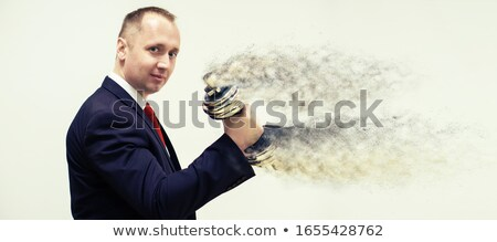 Businessman holding silver dumbbell stock photo © w20er