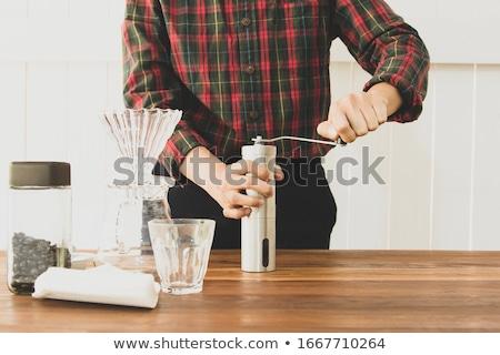 kahve · çekirdekleri · öğütücü · rustik · eski · kahve · ahşap - stok fotoğraf © intheflesh