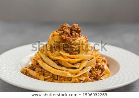 Tagliatelle makarna yemek yemek mutfak pişmiş Stok fotoğraf © M-studio