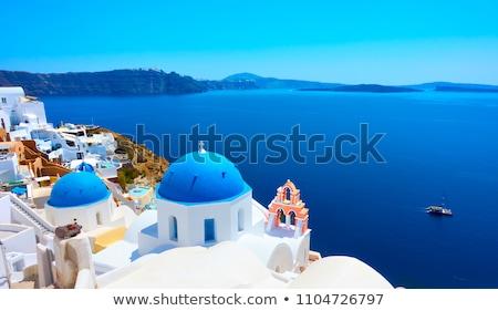 Ortodoks kilise santorini adası Yunanistan ünlü mavi Stok fotoğraf © Elenarts