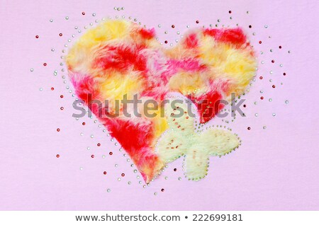 Red heart fluff and sequin Stock photo © Yongkiet