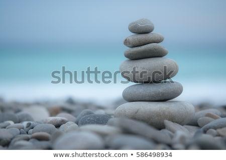équilibre · zen · pierres · sable · mer · résumé - photo stock © tilo