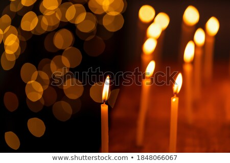 Рождества украшенный свечу черно белые сжигание фон Сток-фото © olandsfokus