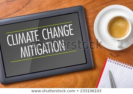 Tabletta asztal klímaváltozás kávé technológia Föld Stock fotó © Zerbor