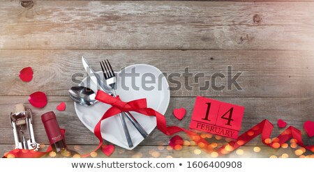 Old knife, spoon and fork decoratively presented. stock photo © justinb