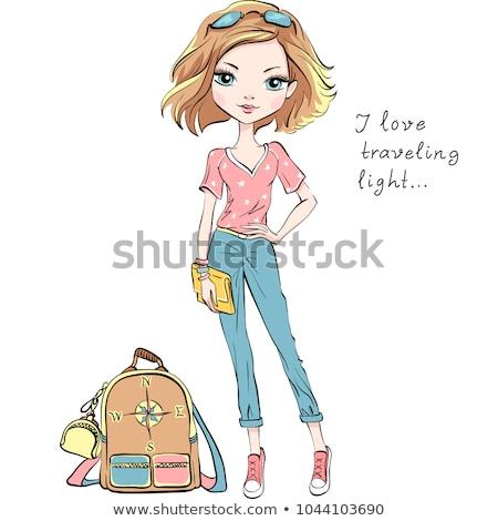 привлекательный моде девушки брюки белый обувь Сток-фото © fotoduki