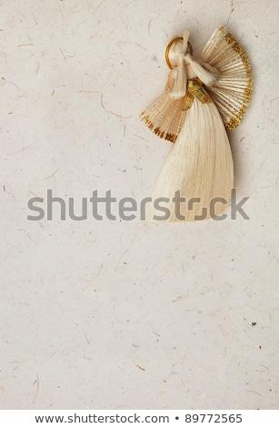 Stok fotoğraf: Saman · Noel · melek · heykelcik · beyaz · kanatlar