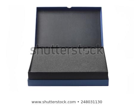 open blue box with packaging sponge foam stock photo © dezign56