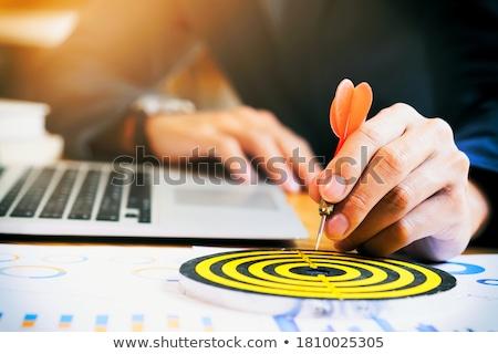 üzletember · ír · jegyzetek · szervező · ül · asztal - stock fotó © hasloo