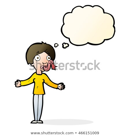 cartoon woman telling lies with thought bubble Stock photo © lineartestpilot