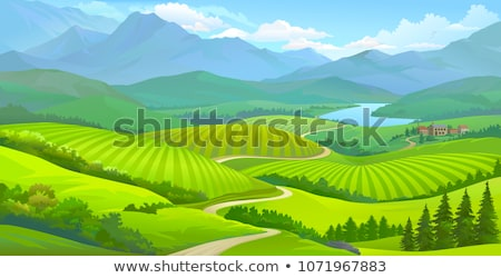 small village with mountain and river stock photo © witthaya