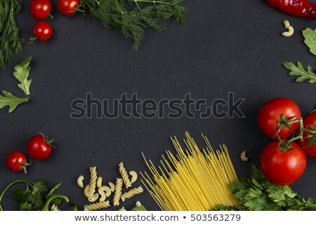 Garlic Parsley Mushroom Tomato Pasta Recipes Top View Stock photo © stevanovicigor