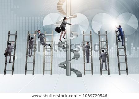 Escalada corporativo escada pessoas de negócios Foto stock © retrostar