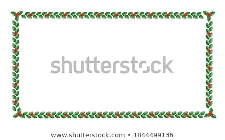 Navidad frontera ilustración diseno hojas marco Foto stock © Irisangel