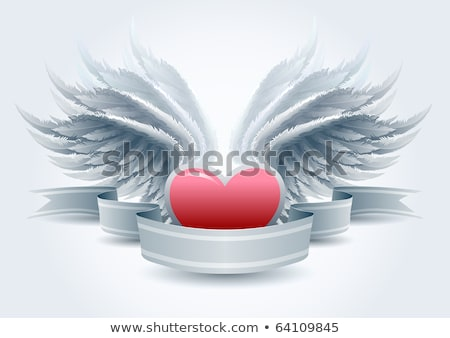 Grunge background with angel and heart stock photo © WaD