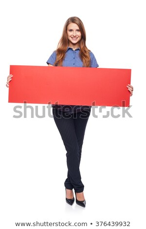woman with blank board isolated on white stock photo © elnur