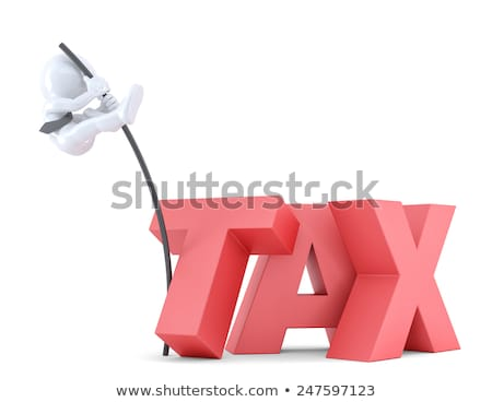 Business men jumping over 'TAX' sign using high pole. Isolated. Contains clipping path Stock photo © Kirill_M