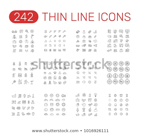 clocks in head thin line icon stock photo © rastudio