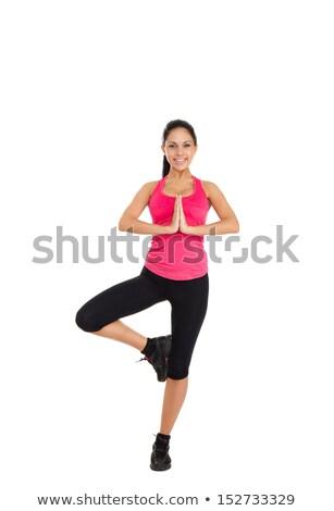 Portret acrobaat vrouw training geïsoleerd Stockfoto © deandrobot