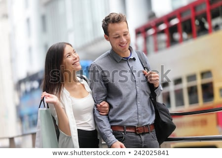 Stockfoto: Pedestrian With Travel Bag Walking At City Street Hong Kong