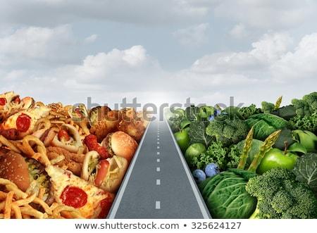 Alimentación saludable camino persona caminando carretera frutas Foto stock © Lightsource