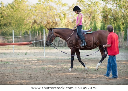 若い女の子 · ライディング · ポニー · 楽しい · 肖像 · 笑みを浮かべて - ストックフォト © fotoyou