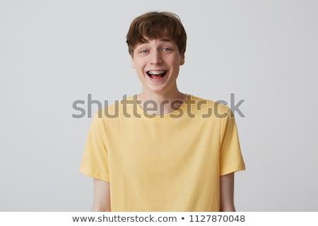 фигурные · скобки · зубов · мальчика · губ · улыбаясь · смеясь - Сток-фото © ozgur