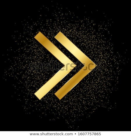 Stock photo: Round Arrow Golden Vector Icon Design