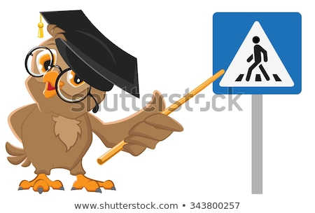 owl teacher shows pedestrian crossing sign traffic laws education stock photo © orensila