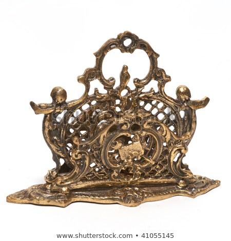 Antiguos bronce stand servilleta aislado blanco Foto stock © frescomovie