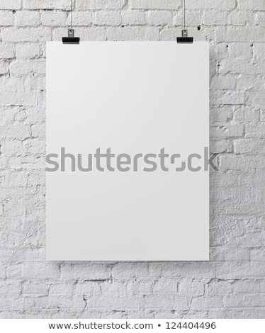 uno · negro · marco · blanco · pared · de · ladrillo · pared - foto stock © Paha_L