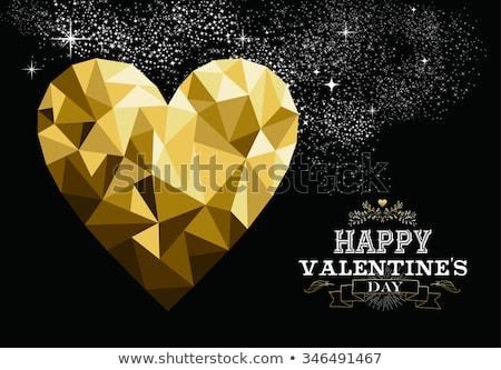Tebrik kartı poster sevgililer günü düşük üçgen stil Stok fotoğraf © UrchenkoJulia