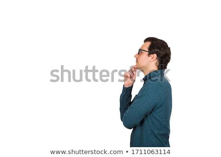 Empresario pensando mano barbilla blanco traje Foto stock © wavebreak_media