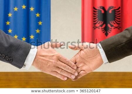 Eu アルバニア 握手 ビジネス 手 成功 ストックフォト © Zerbor