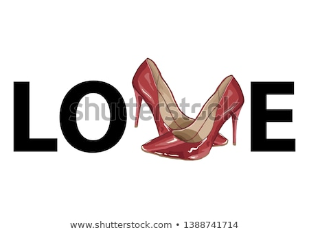 Hand drawn Illustration of a pair of red stiletto shoes Stock photo © gigi_linquiet