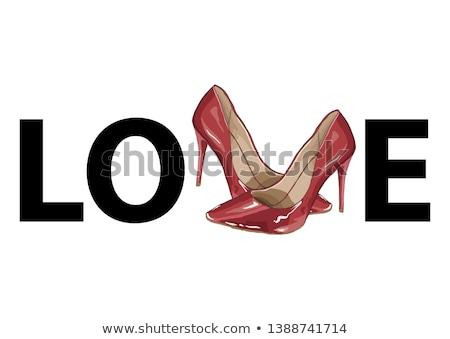 illustrazione · coppia · rosso · scarpe · ragazza - foto d'archivio © gigi_linquiet