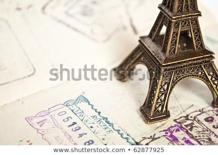 Pasaporte sello visado viaje París Francia Foto stock © FrameAngel