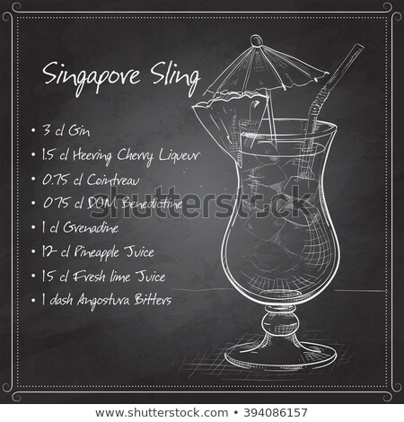 The Singapore Sling cocktail on black board Stock photo © netkov1