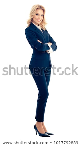 businesswoman in blue suit isolated on white stock photo © elnur