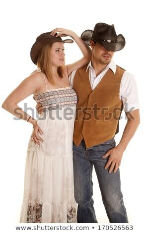 Stock photo: Beautiful woman in western wear