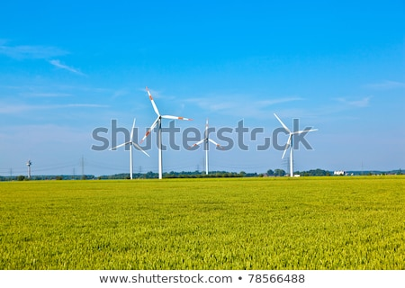 Wind energy wowers standing in the field in spring Stock photo © meinzahn