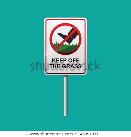 Stock photo: Sign on a green lawn - Keep off the grass
