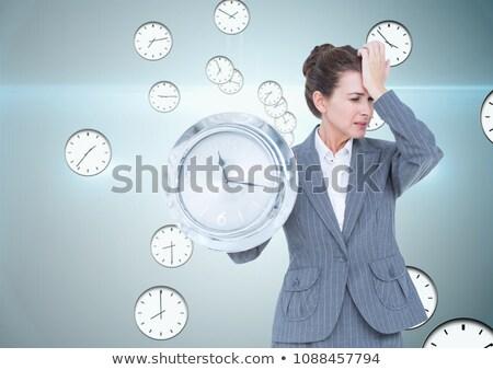 女性実業家 クロック アップ 白 ビジネス 作業 ストックフォト © Elnur