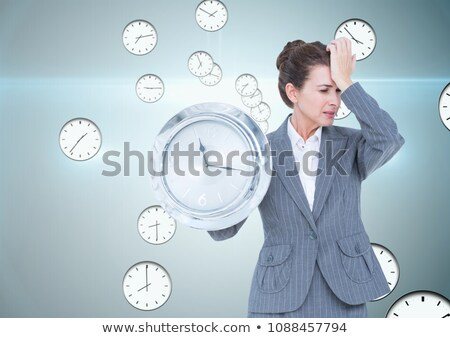 zakenvrouw · klok · omhoog · witte · business · werk - stockfoto © Elnur