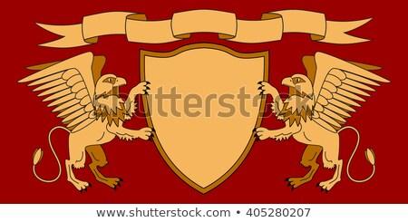 Oroszlán tart család címer kő kép Stock fotó © searagen