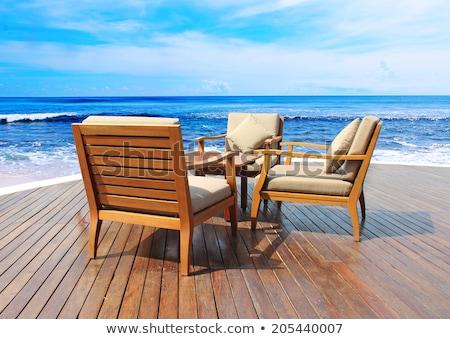 strandszékek · dél · tengerpart · Miami · késő · délután - stock fotó © meinzahn