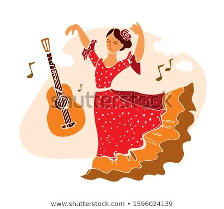 Spanish girl invitation card for flamenco party, vector illustration Stock photo © carodi