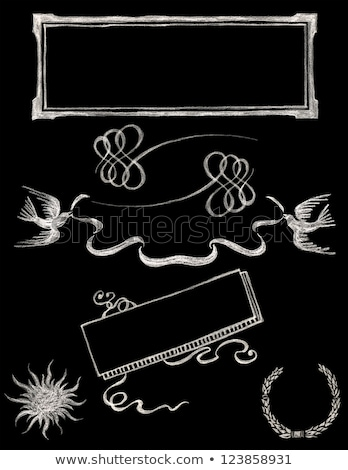 Stock photo: wedding ribbon frame set 2